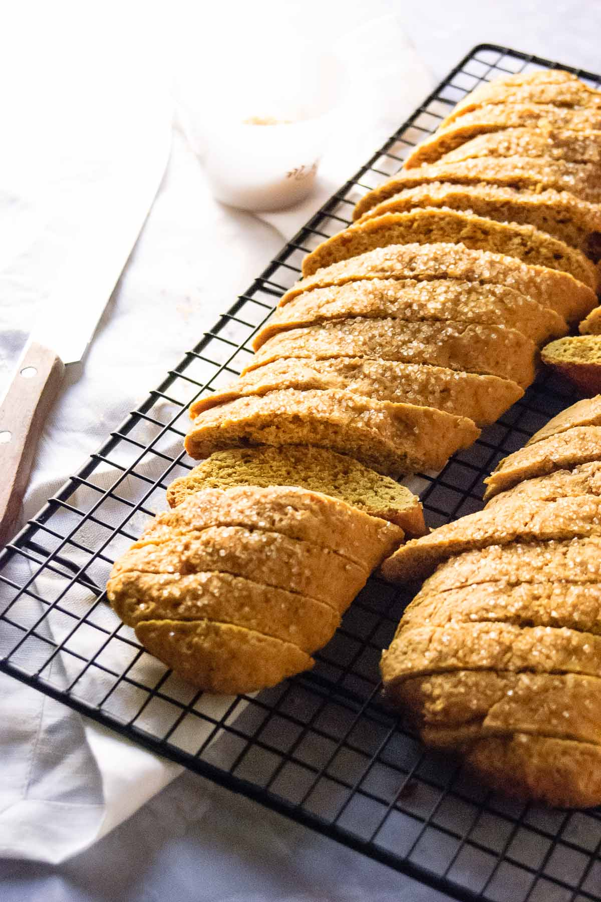 Crisp dunkable cookies, perfect for coffee, tea or a cold glass of milk - this PumpkinSpice Biscotti recipe is an October and Thanksgiving must!- thebeaderchef.com Thanksgiving | Vegetarian | Cookies | Biscotti | Dessert