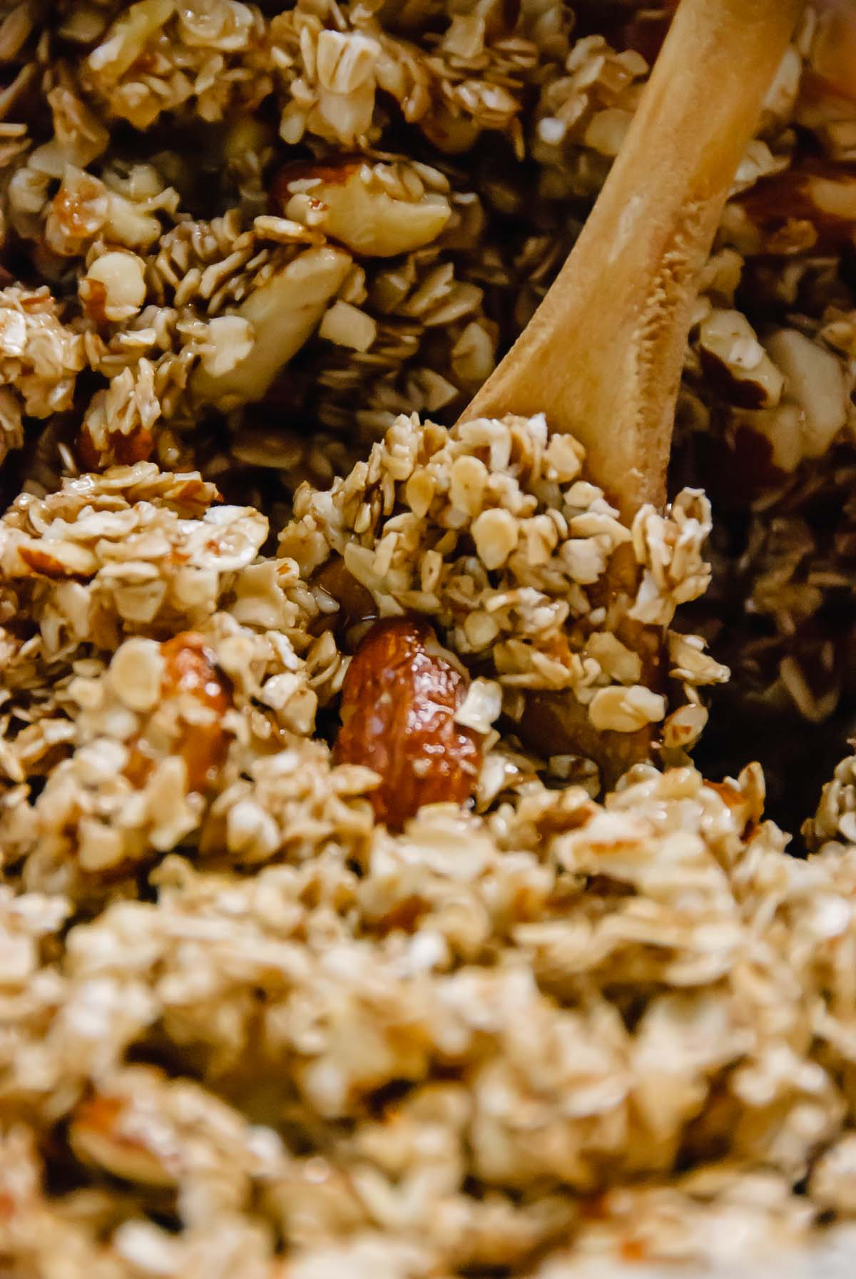 Basic Homemade Granola that is easy to make and a great foundation recipe for your own twist! Made with oats, almonds, cinnamon, maple syrup and a little brown sugar. Deliciously good, easy, vegan and gluten-free! - thebeaderchef.com #granola #homemadegranola #maplesyrup #vegan #glutenfree