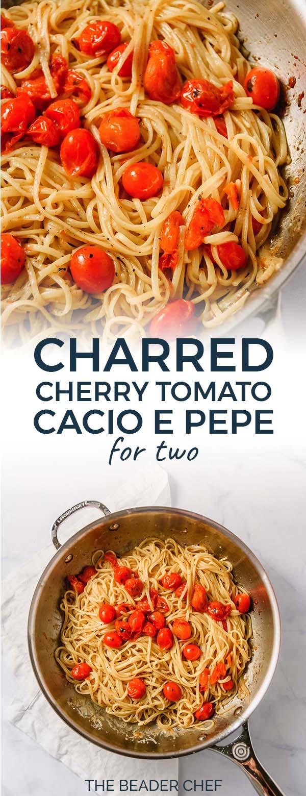Charred Cherry Tomato Cacio e Pepe Pinterest Pin