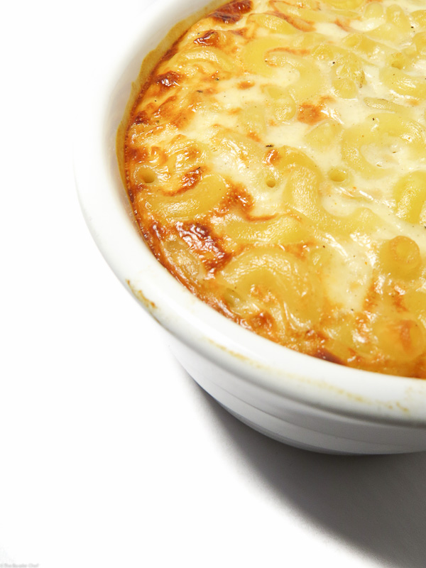 Close up of baked mac and cheese for two.