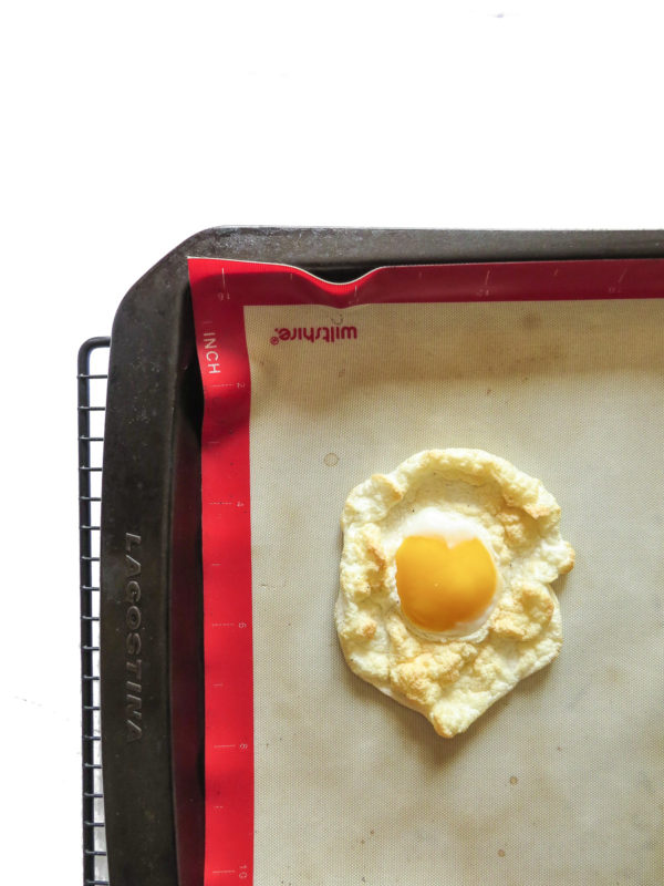 A cloud egg on a baking sheet.