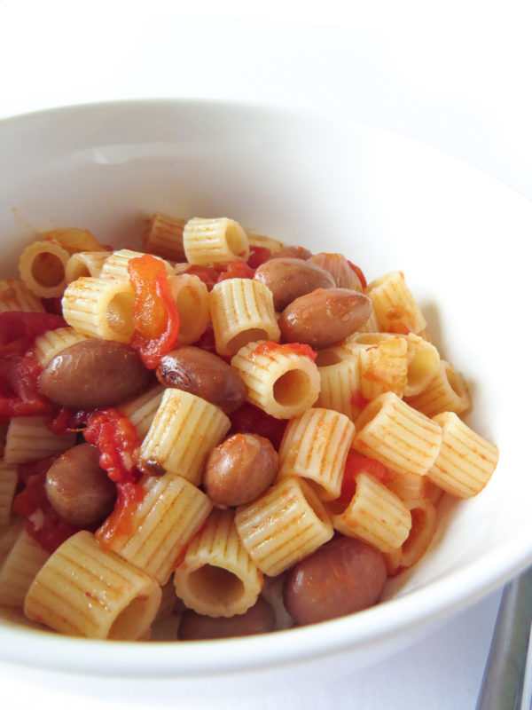 Close up of a bowl of pasta e fagioli.