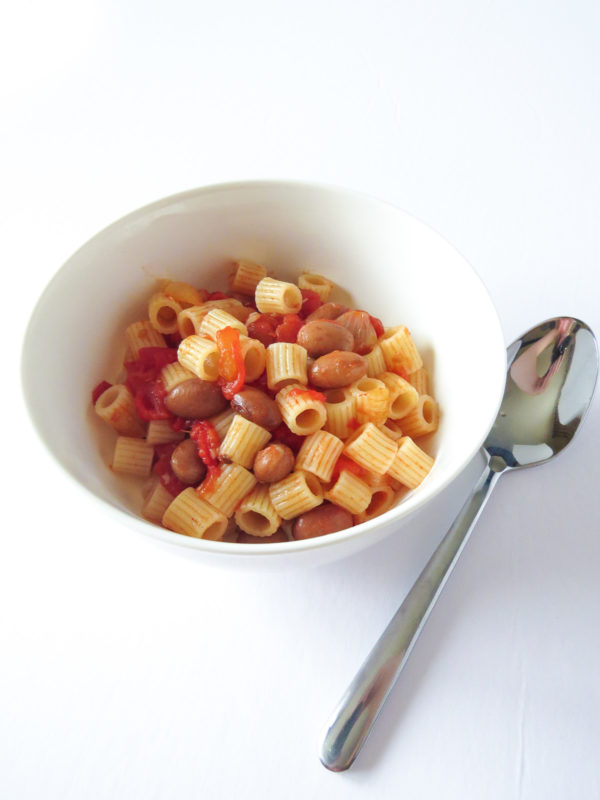 Bowl of pasta e fagioli.