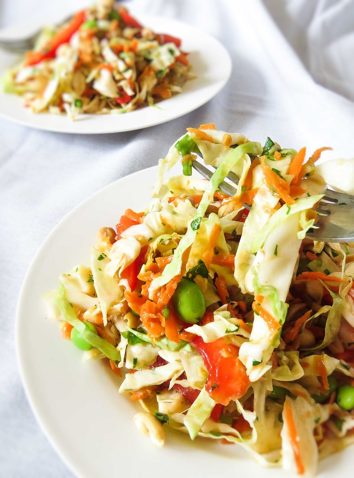 Ginger-Peanut Punch Asian Coleslaw - Yummy cabbage, carrots, red bell peppers, edamame, scallions, peanuts and cilantro get tossed together with a gingery-peanut dressing! What more can you want from this rainbow salad recipe?!
