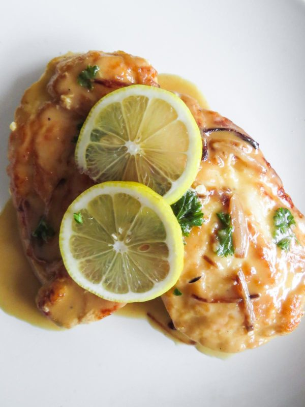 Close up of chicken piccata for two.