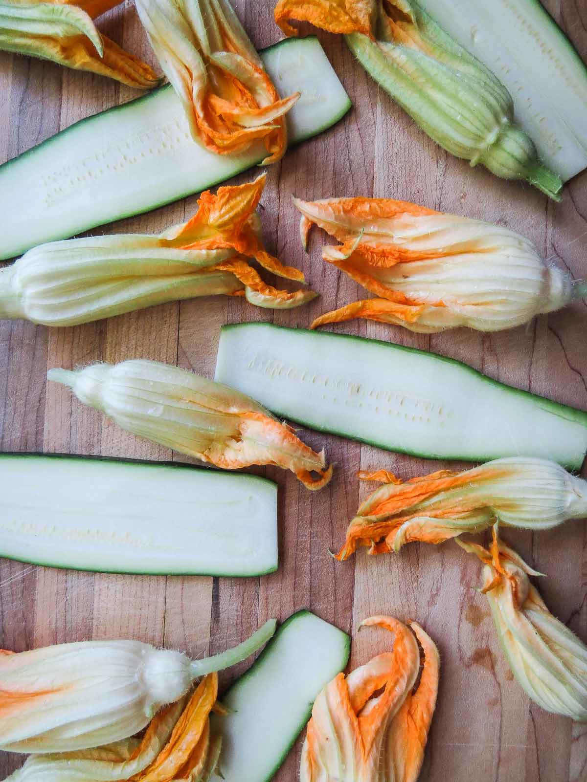 Fried Zucchini Flowers & Strips