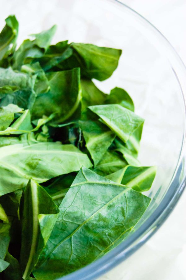 A close up of collard greens for caldo verde soup.