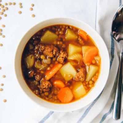 Spicy Sausage Lentil Soup