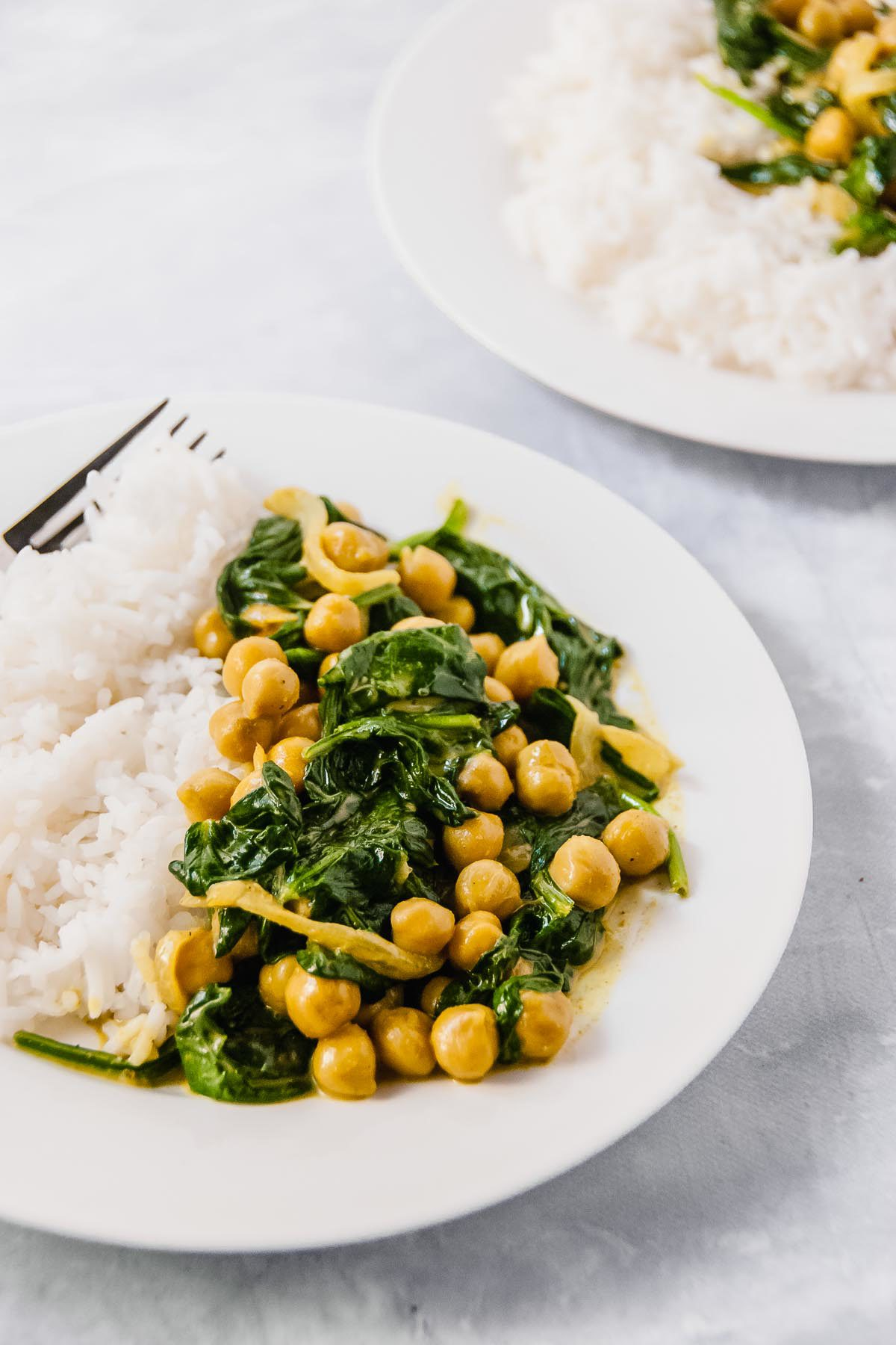 20 Minute Golden Chickpea Curry with Spinach for Two