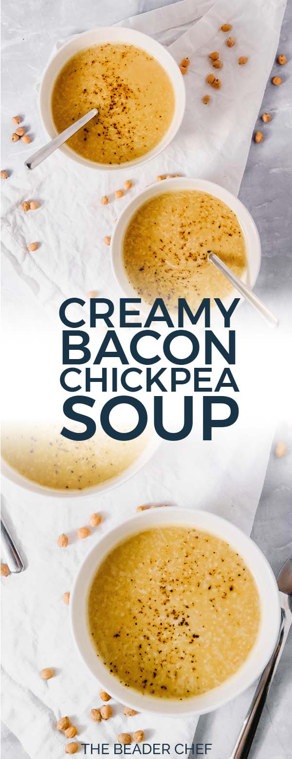 Creamy Bacon Chickpea Soup Pinterest Pin