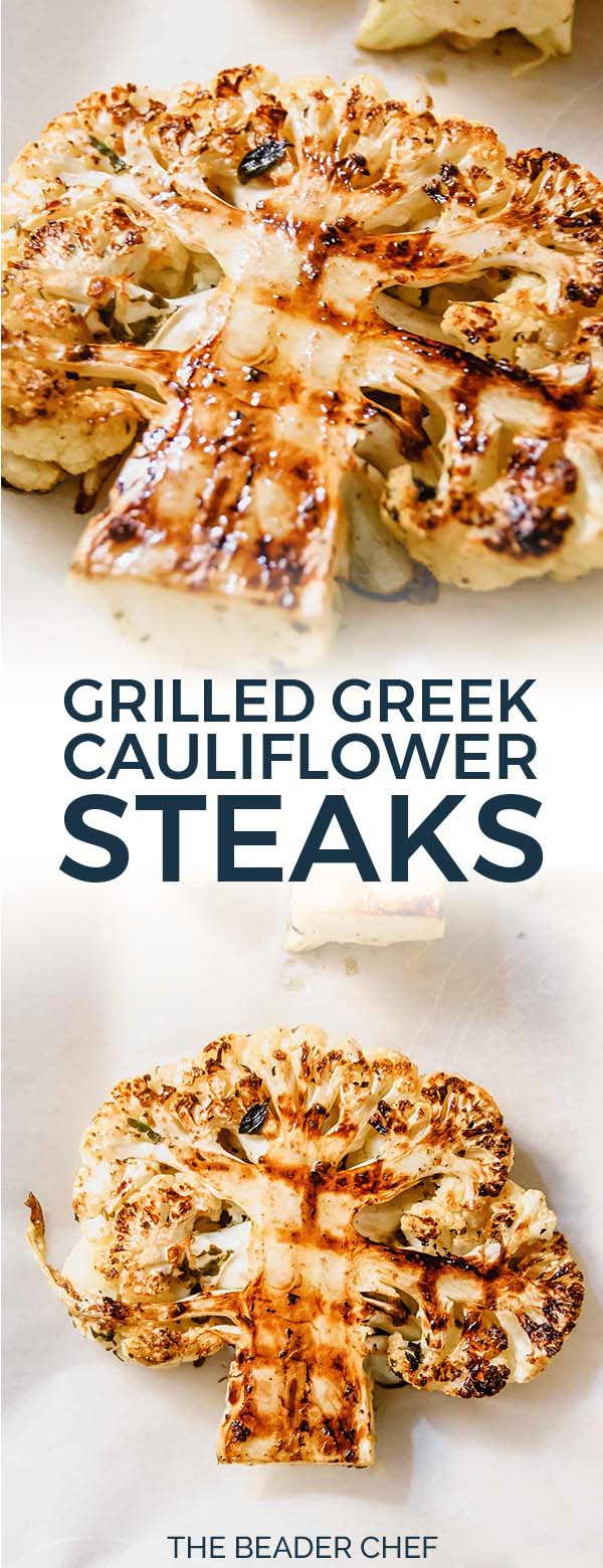 Grilled Greek Cauliflower Steaks Pinterest Pin