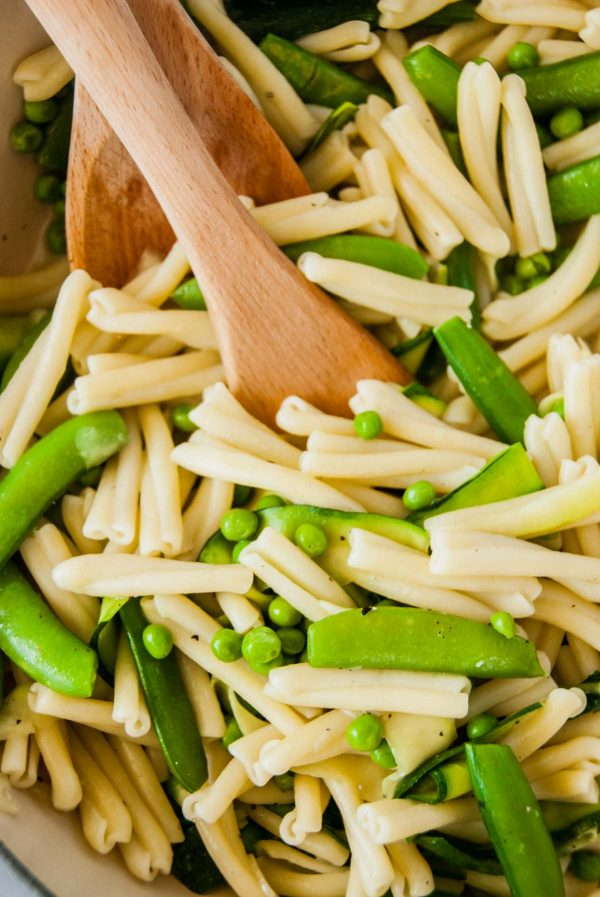 Close up of easy green vegetable pasta for two.