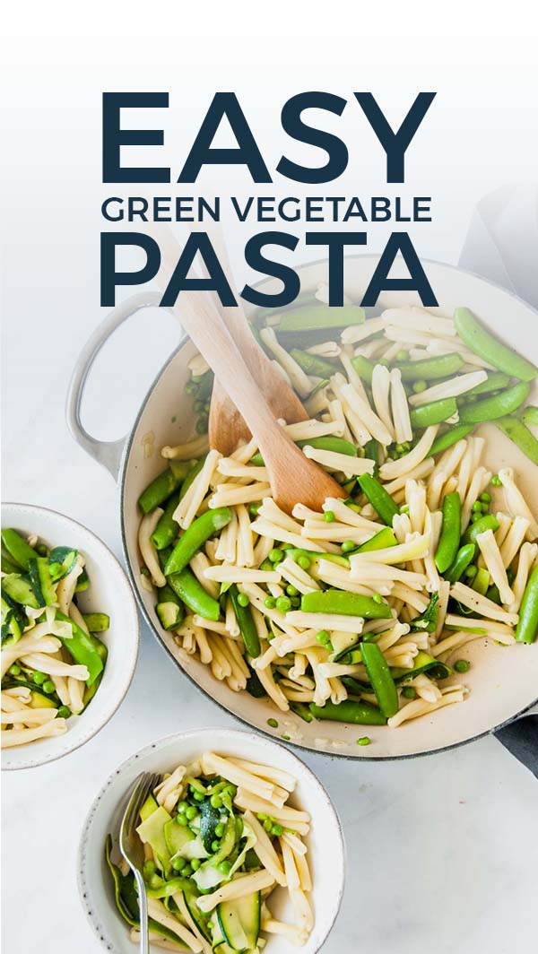 Packed with delicious green vegetables, this easy green vegetable pasta for two recipe is bursting with flavor thanks to yummy garlic and parmesan cheese. It\'s also ready in a few simple steps and makes the perfect weeknight supper - plus leftovers are amazing cold! #vegetables #weeknightdinner #pasta #healthyish #greenvegetables #veggies