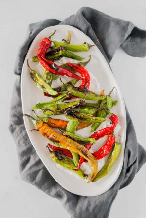 5-minute charred peppers served over tzatziki on a platter placed over a dark grey serving napkin.