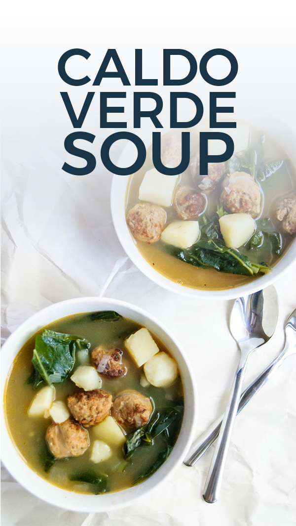 Hearty sausages, potatoes and collard greens are here to fill you up and warm your soul in this Portuguese Caldo Verde Soup recipe! One pot, easy to make and great as leftovers for the week! #onepot #soup #easyrecipe