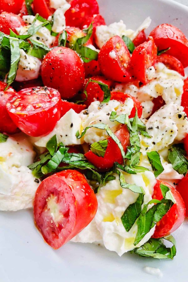 Close up of caprese salad for two.