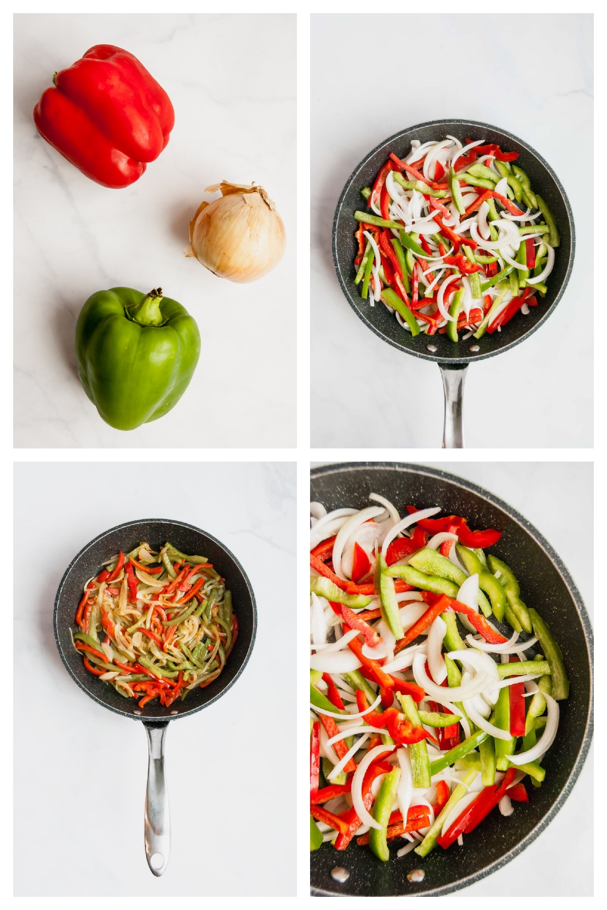 Photo gallery of four pictures of bell peppers and onions in a pan.