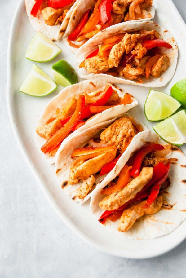 Plater of chicken fajitas.