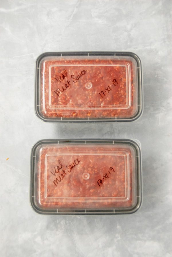 Simple meat sauce in containers for the freezer.