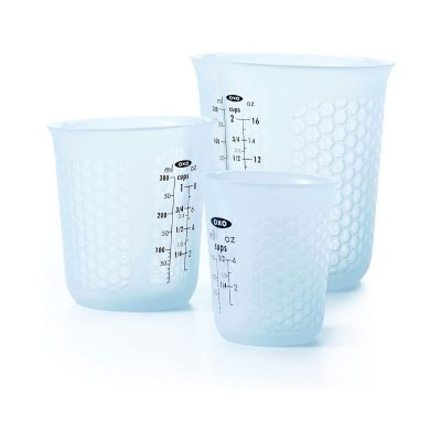 Product photo for oxo good grip's 3 piece squeeze and pour silicone measuring cup set